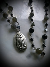 Victorian Style Blessing Cat Rosary~ Labradorite & Onyx beads
