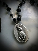 Victorian style Cosmic Cat Rosary Blue Goldstone beads