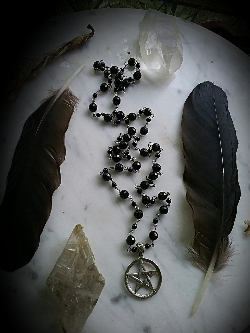 Mourning Rosary Spell Beads with Pentacle & Jet Beads