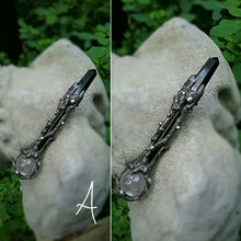 ~Moon Shadows Eclipse Crystal Ball Wand pendant ~ Obsidian & Quartz