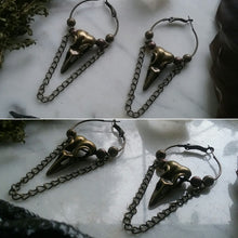 Gothic Raven Crow Brass Hoop Earrings