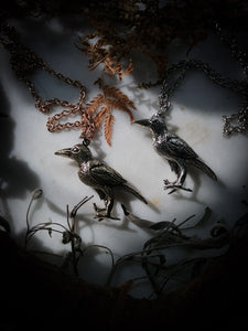Macabre Crow necklace ~ Antiquated Silver or Brass Tone