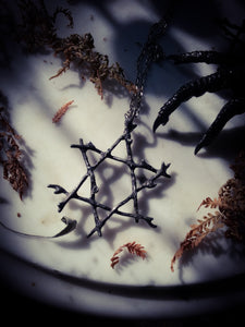 WitchingTree Hexagram~ Star of Solomon~ As Above, So Below~ Woven Pewter Star  ~