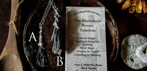 Blackthorn Broom Talisman ~ Black Kyanite