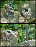Raven and Moon Pewter Candle Holders