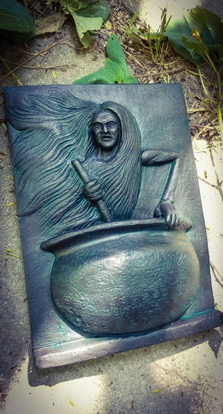 Baba Yaga in Cauldron Plaque