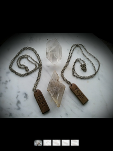 Vintage Wooden Runic pendants~ Runic Amulet~
