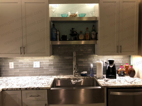 floating shelves above sink