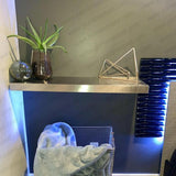 "18""x10""x1.5"" (cm.46x25,4x3,8) brushed stainless steel floating shelf"