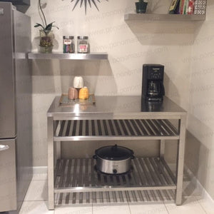 "18""x10""x1.5"" (cm.46x25,4x3,8) brushed stainless steel floating shelf - Ponoma"