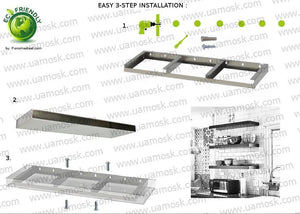 "*3/16"" SnapToggle® mount hardware SET for ANY shelf's size to install it on drywall, sheetrock, plaster wall - Ponoma"