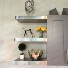 "Load image into Gallery viewer, 33""x10""x2.0"" (cm.84x25,4x5,1) brushed stainless steel floating shelf - Ponoma"