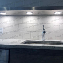 "画像をギャラリービューアに読み込む, 33""x12""x2.0"" (cm.84x30,5x5,1) brushed stainless floating shelf with 2 LED lights - Ponoma"