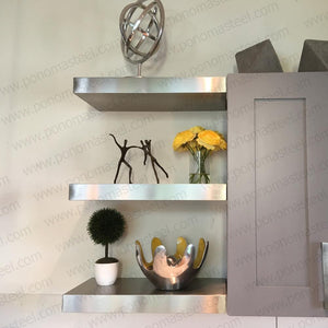 "33""x12""x2.0"" (cm.84x30,5x5,1) brushed stainless steel floating shelf - Ponoma"