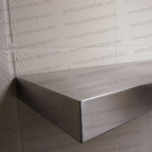 "40""x10""x2.0"" (cm.101,6x25,4x5,1) brushed stainless steel floating shelf - Ponoma"