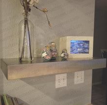 "Load image into Gallery viewer, 40""x12""x2.0"" (cm.101,6x30,5x5,1) brushed stainless steel floating shelf - Ponoma"