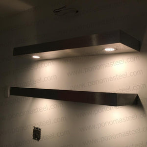 "40""x12""x2.5"" (cm.101,6x30,5x6,4) painted stainless floating shelf with 3 LED lights - Ponoma"