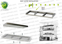 "Load image into Gallery viewer, 42""x10""x2.0"" (cm.107x25,4x5,1) brushed stainless steel floating shelf - Ponoma"