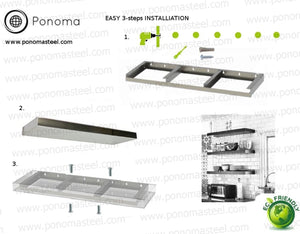"48""x10""x2.5"" (cm.121,9x25,4x6,4) brushed stainless steel floating shelf - Ponoma"