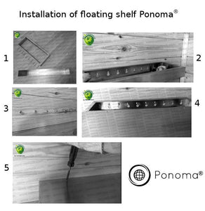 "48""x12""x2.0"" (cm.121,9x30,5x5,1) brushed stainless floating shelf with 3 LED lights - Ponoma"