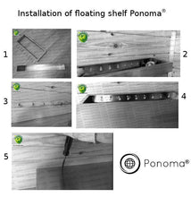 "Load image into Gallery viewer, 48""x12""x2.5"" (cm.121,9x30,5x6,4)  stainless floating shelf with 3 LED lights - Ponoma"