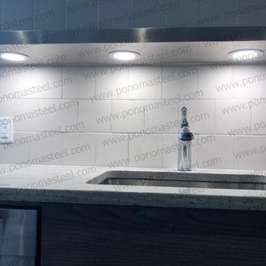 "52""x10""x2.0"" (cm.132x25,4x5,1) brushed stainless floating shelf with 3 LED lights - Ponoma"
