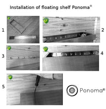 "Load image into Gallery viewer, 52""x10""x2.0"" (cm.132x25,4x5,1) brushed stainless floating shelf with 3 LED lights - Ponoma"