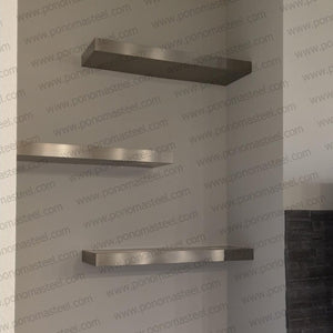 "52""x12""x2.0"" (cm.132x30,5x5,1) brushed stainless steel floating shelf - Ponoma"