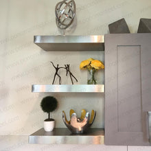 "Load image into Gallery viewer, 60""x12""x2.0"" (cm.152x30,5x5,1) brushed stainless steel floating shelf - Ponoma"