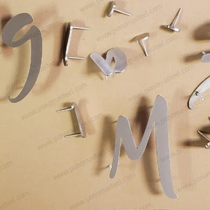 "Letter up to 14"" (cm.35.6) hight made of 1/5"" (mm.5) thickness brushed stainless steel - Ponoma"