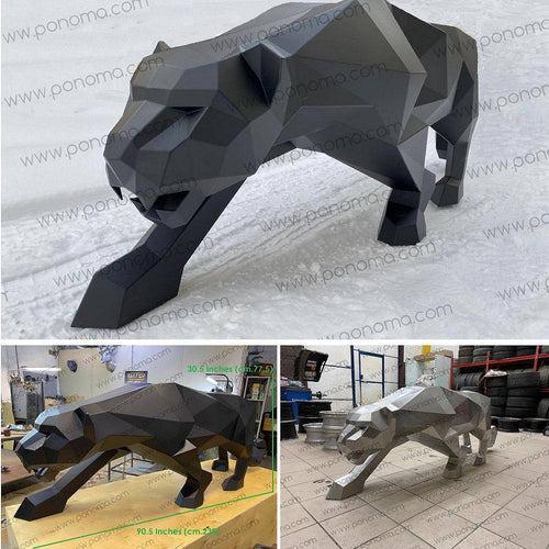Stainless steel sculpture of PANTHER - Ponoma