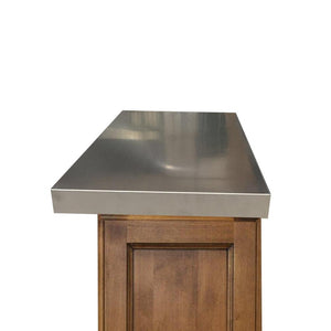 "Island countertop Ponoma® 1.5"" thickness without backsplash, brushed seamless stainless steel - Ponoma"