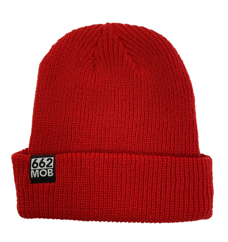 662 Ribbed Cuffed Beanie Red - Beanies - 662 Bodyboard Shop