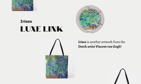 Irises is another artwork from the Dutch artist Vincent van Gogh Luxe link purse hook