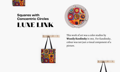 This work of art was a color studies by Wassily Kandinsky in 1913 Luxe link purse hook