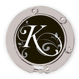Flourished K initial for luxe link purse hook