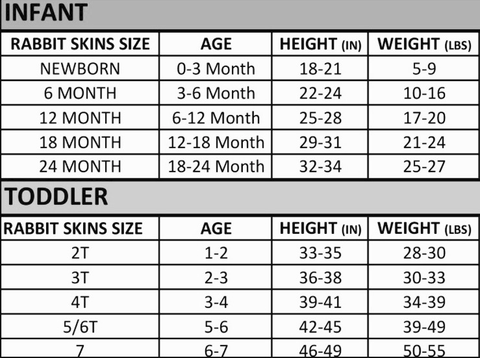Size chart for raglan onesie or tee