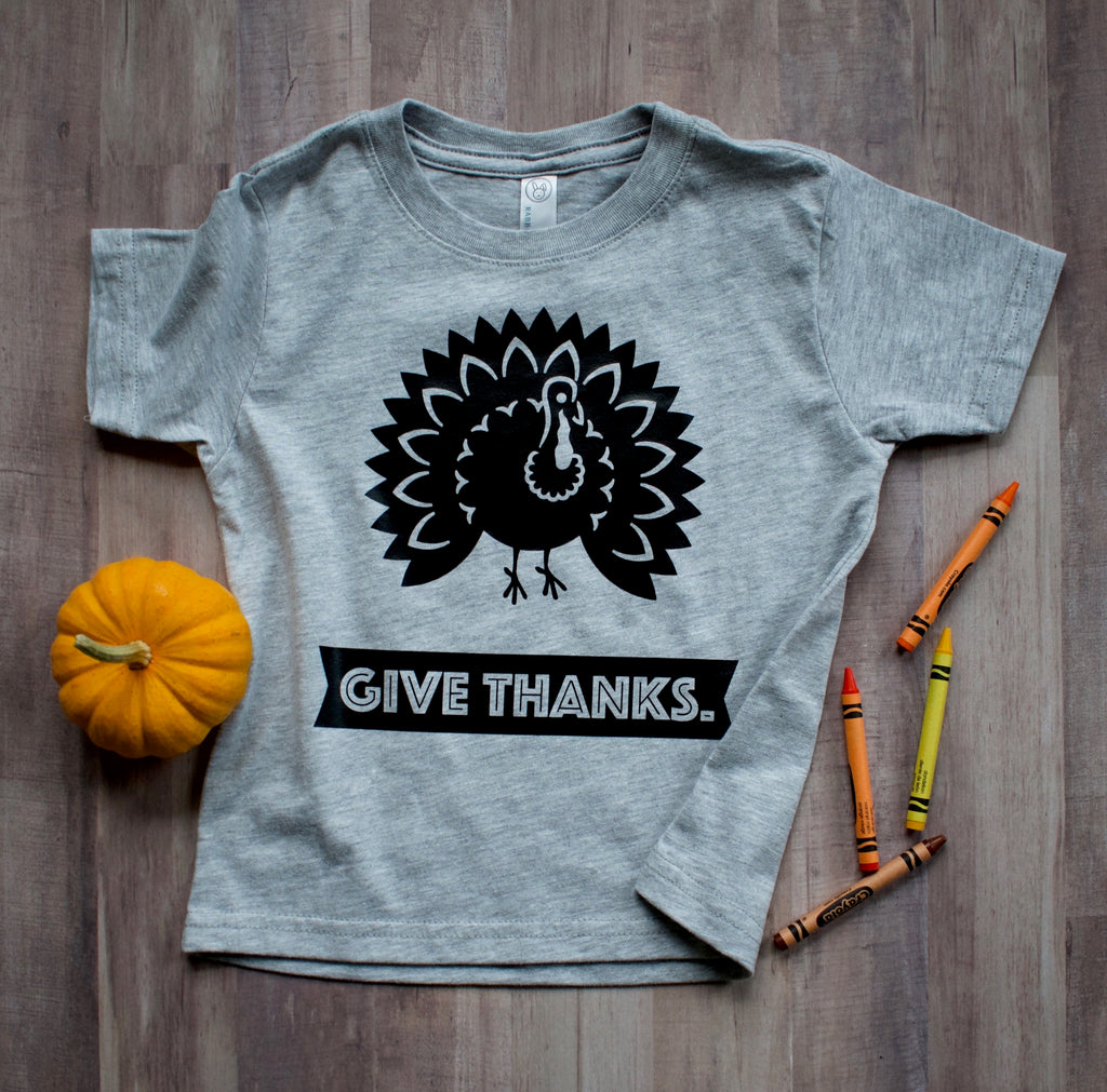 Give-Thanks-Thanksgiving-Turkey-Baby-Onesie-or-Toddler-T-Shirt-Gray-2-It's My Party Kids Boutique