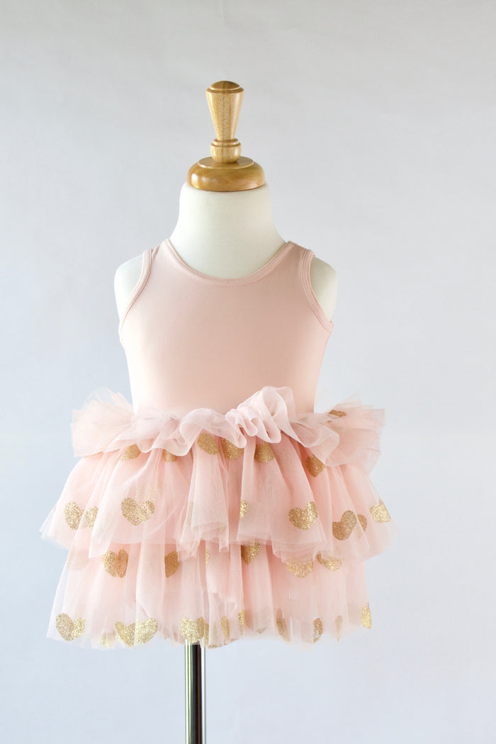 Ballet-pink-gold-glitter-heart-toddler-tutu-dress-It's My Party Kids Boutique