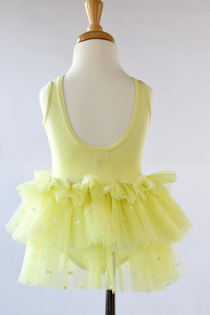 Flocked Bow Lemon Yellow Tutu Dress