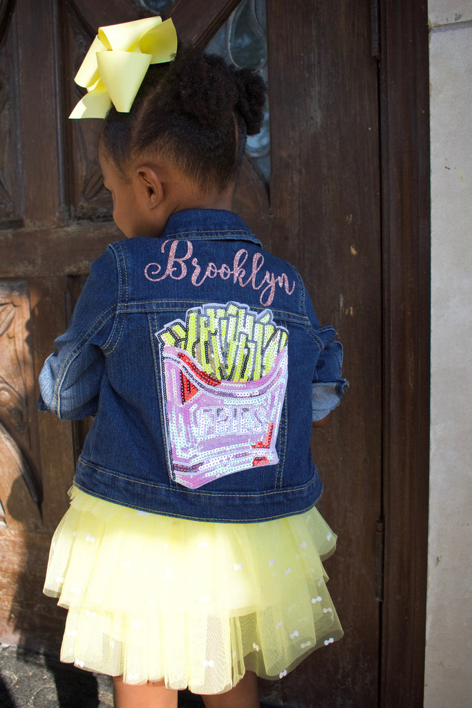 Personalized-glitter-french-fry-sequin-name-customized-indigo-toddler-denim-jacket-2-It's My Party Kids Boutique