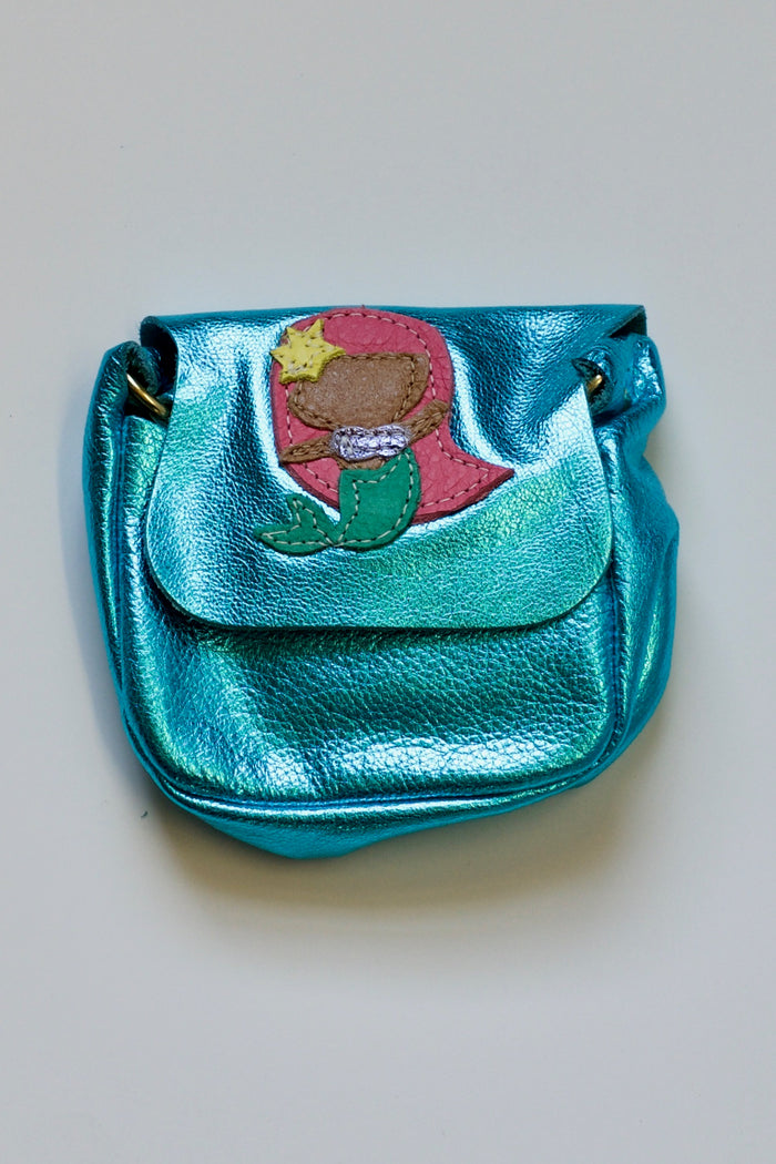"METALLIC LEATHER MERMAID SATCHEL - ""REIGN"" PINK HAIR, PURSE - itsmypartykids"