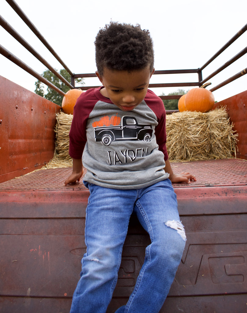 Thanksgiving-pumpkin-vintage-truck-personalized-raglan-tee-shirt-3-It's My Party Kids Boutique