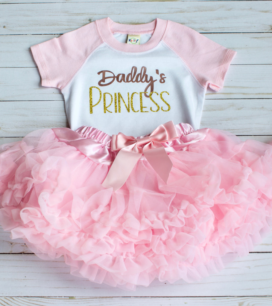 Daddy's Princess Glitter Short-Sleeve Raglan Onesie - Light Pink/White, TEES - itsmypartykids