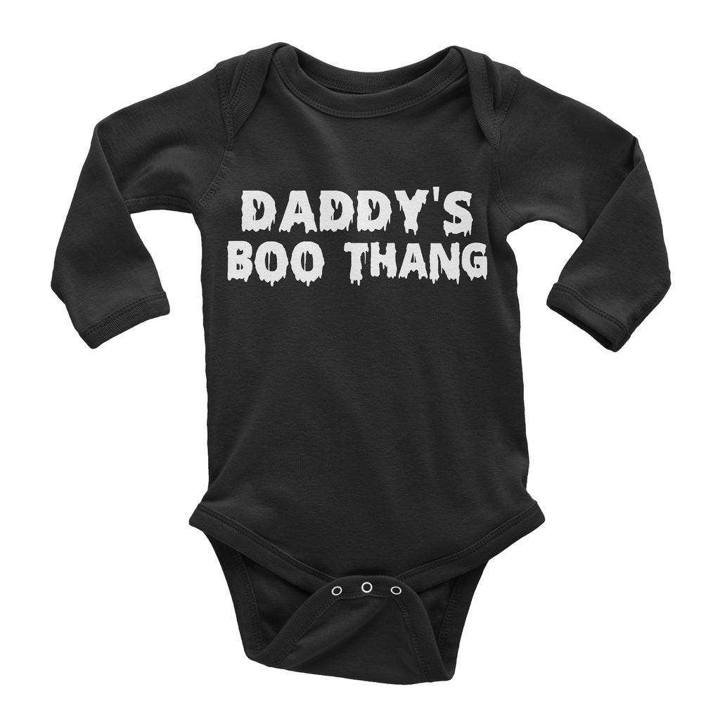 Daddy's Boo Thang Halloween baby onesie long sleeve black