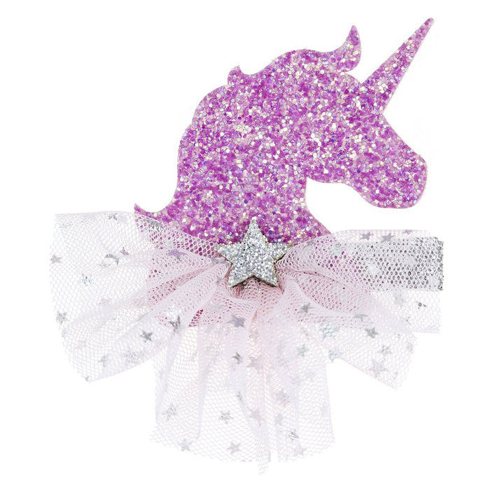 GLITTER UNICORN HAIR CLIP - PURPLE, HEADBAND - itsmypartykids
