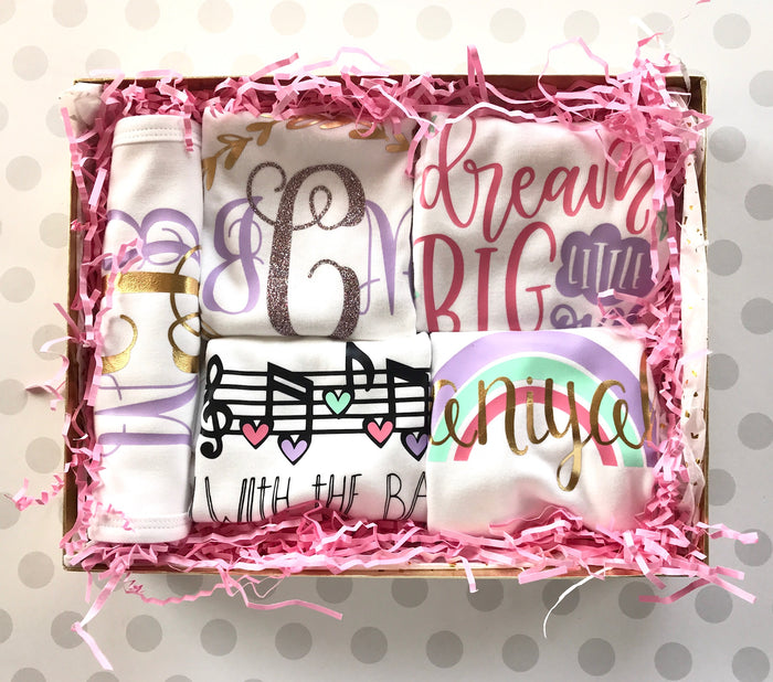 5-Piece Personalized Baby Onesie and Bib Gift Set| 0-3 Months| Baby Shower Gift - Dream Big Rainbow, Gift Set - itsmypartykids