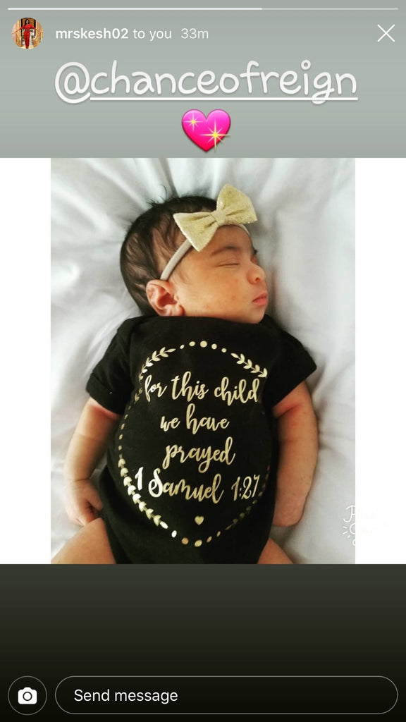 For This Child We Have Prayed Gold Metallic Baby Onesie - Black