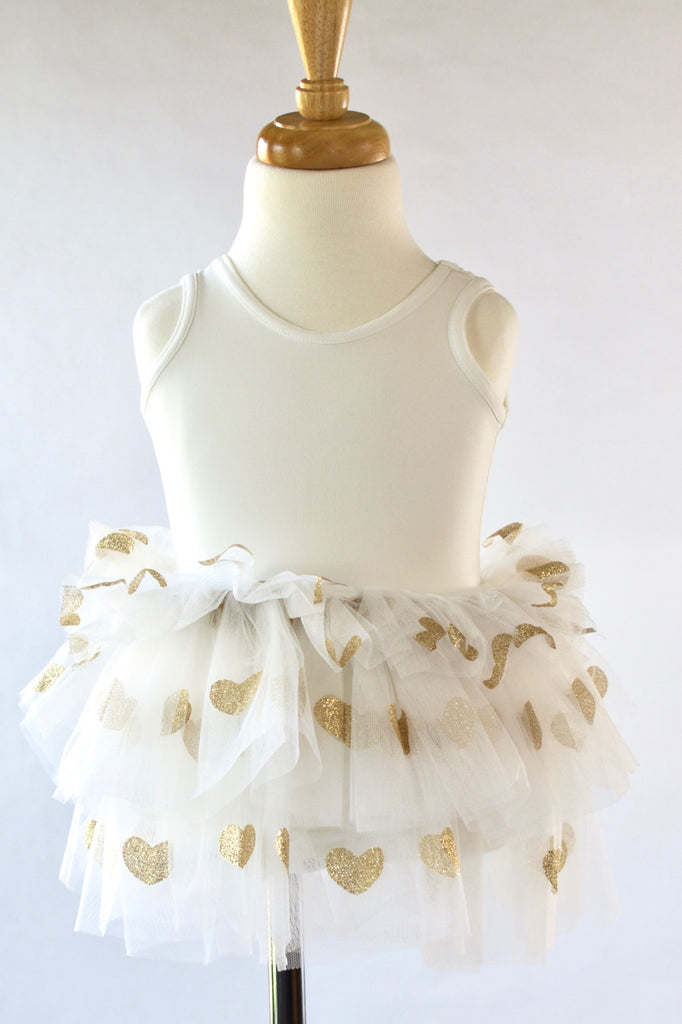 White-Ivory-Glitter-gold-toddler-tutu-dress-It's My Party Kids Boutique