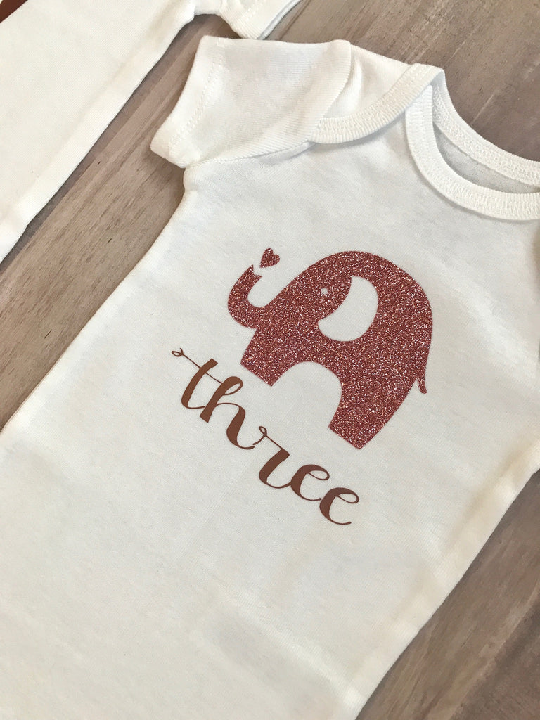 12-Piece Milestone Baby Onesie Gift Set| Rose Gold Nursery Animals | 1-12 Months| Baby Shower Gift, Gift Set - itsmypartykids